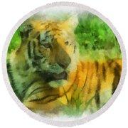 Tiger Resting Photo Art 01 Round Beach Towel