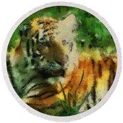 Tiger Resting Photo Art 03 Round Beach Towel