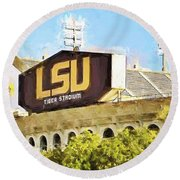Tiger Stadium - Bw Round Beach Towel