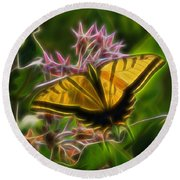 Tiger Swallowtail Digital Art Round Beach Towel