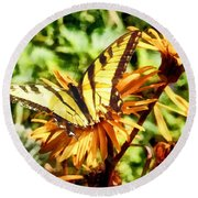 Tiger Swallowtail On Yellow Wildflower Round Beach Towel