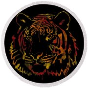 Tiger Watercolor - Black Round Beach Towel