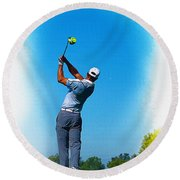 Tiger Woods Plays His Tee Shot On The 15th Hole Round Beach Towel
