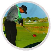 Tiger Woods  - Second Round Of The Honda Classic Round Beach Towel