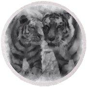 Tigers Photo Art 01 Round Beach Towel