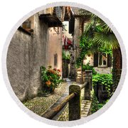 Tight Alley With Palm Trees Round Beach Towel