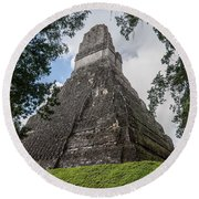 Tikal Pyramid 1b Round Beach Towel