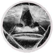 Tiki Mask Negative Round Beach Towel
