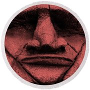 Tiki Mask Salmon Round Beach Towel