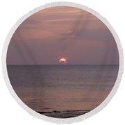 Tiki Sunset 3 Round Beach Towel