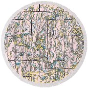 Tile Abstract Round Beach Towel