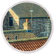 Tile Roofs - Thirsk England Round Beach Towel