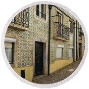 Tile Walls Of Lisbon Round Beach Towel