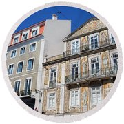 Tiled Building In Chiado District Of Lisbon Round Beach Towel