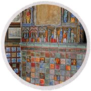 Tilework At The Castle Round Beach Towel