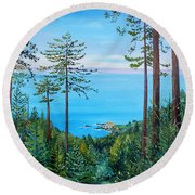 Timber Cove On A Still Summer Day Round Beach Towel