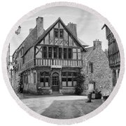Timber Framed Houses In France Round Beach Towel