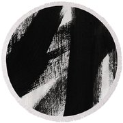 Timber- Vertical Abstract Black And White Painting Round Beach Towel