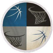 Timberwolves Ball And Hoop Round Beach Towel
