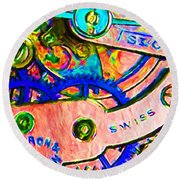 Time In Abstract 20130605p180 Round Beach Towel