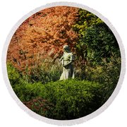 Time In The Garden Round Beach Towel