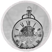 Time In The Sand In Black And White Round Beach Towel