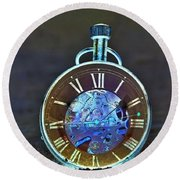Time In The Sand In Negative Round Beach Towel
