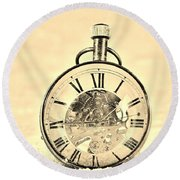 Time In The Sand In Sepia Round Beach Towel