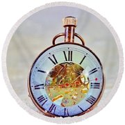 Time In The Sand Round Beach Towel
