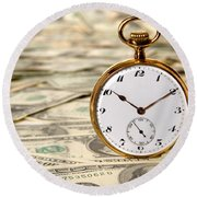 Time Is Over Money Round Beach Towel
