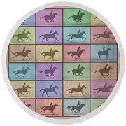 Time Lapse Motion Study Horse Color Round Beach Towel