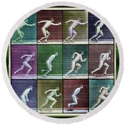 Time Lapse Motion Study Man Running Color Round Beach Towel