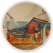 Time Out  Round Beach Towel