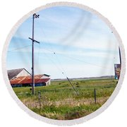Time Passed By Round Beach Towel