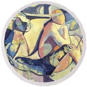 Time Passes Round Beach Towel