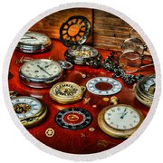 Time - Pocket Watches  Round Beach Towel by Paul Ward