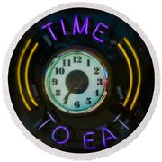 Time To Eat Round Beach Towel