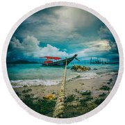 Time To Rest Round Beach Towel