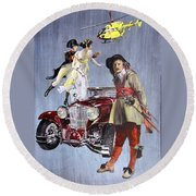 Time Travel With Oldtimer Round Beach Towel