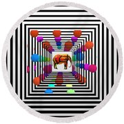 Time Tunnel Round Beach Towel