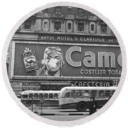 Times Square Advertising Round Beach Towel