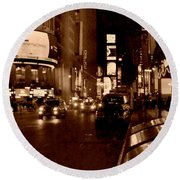 Times Square At Night - In Copper Round Beach Towel