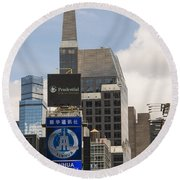 Times Square Color Round Beach Towel