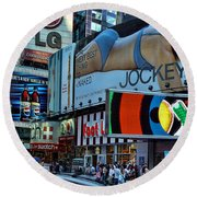 Times Square Energy Round Beach Towel