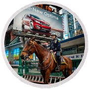 Times Square Horse Power Round Beach Towel