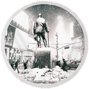 Times Square In The Snow - New York City Round Beach Towel