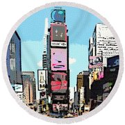 Times Square Nyc Cartoon-style Round Beach Towel