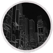 Times Square Nyc White On Black Round Beach Towel by Meandering Photography