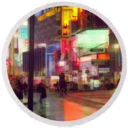 Times Square With Runaway Horse Round Beach Towel