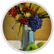 Tin Bouquet And Green Apples Round Beach Towel